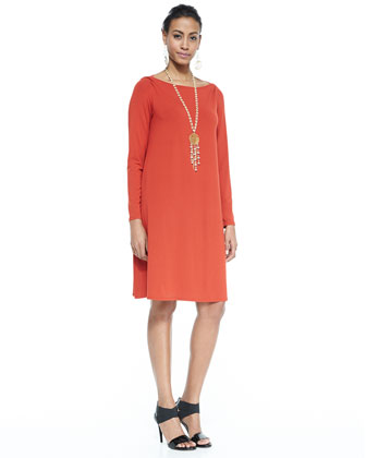 Long-Sleeve A-line Jersey Dress, Petite