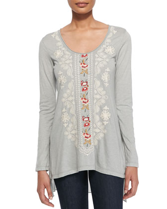 Classic Everly Embroidered Jersey Tee, Shady Gray