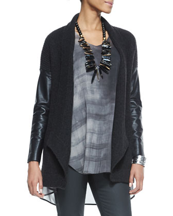Ribbed Cardigan with Leather Sleeves, Sleeveless High-Low Printed Silk ...