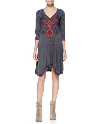 Yvette 3/4-Sleeve Embroidered Dress, Women's