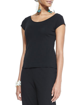 Silk-Jersey Cap-Sleeve Tee, Black, Women's