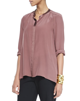 Silk Crepe de Chine Long Shirt, Women's
