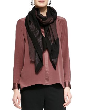 Silk Crepe de Chine Long Shirt, Straight-Leg Ponte Pants & Wave Print ...