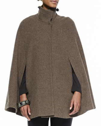 High-Collar Alpaca Tweed Cape