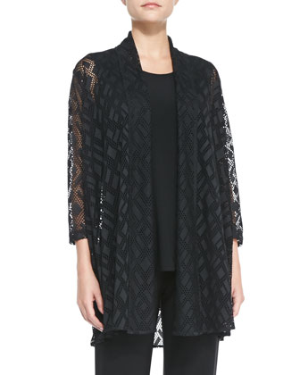 Marquise Mesh Cardigan, Stretch-Knit Long Tank & Stretch-Knit Slim Pants