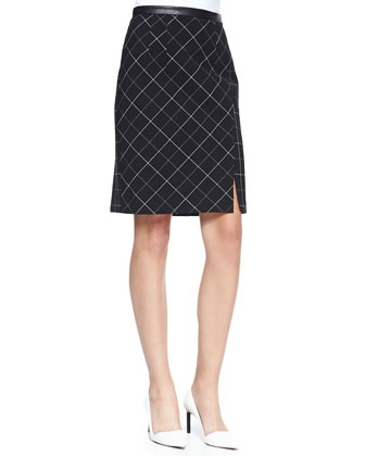 Scholarly Leather-Trim Pencil Skirt