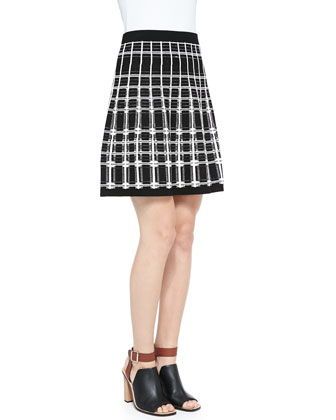 First Edition Plaid-Front Sweater & Series Plaid A-Line Skirt