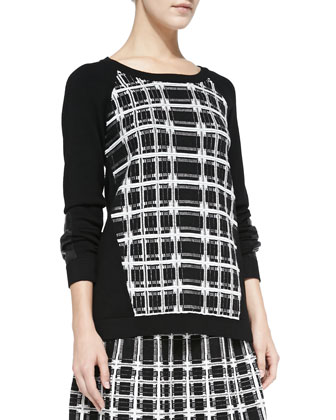 First Edition Plaid-Front Sweater