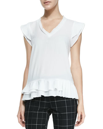 Poetry Ruffle-Trim V-Neck Top