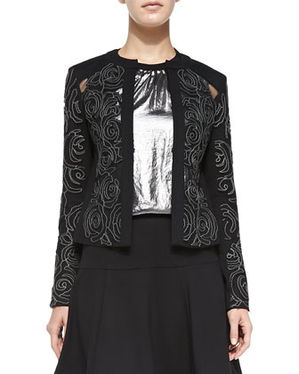Protagonist Embroidered Sheer-Inset Jacket, All Nighter Metallic Sleeveless ...