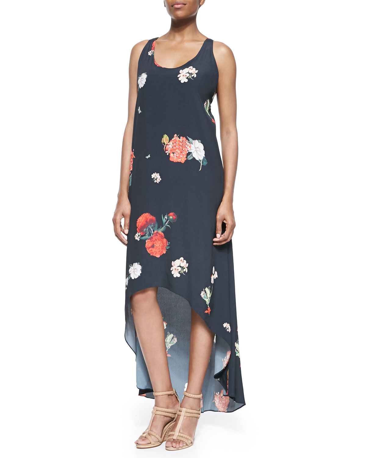 Womens Veronica Floral Print High Low Dress   Alice + Olivia   Castaway floral