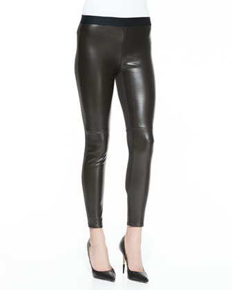 Brisk Walking Faux-Leather Pants