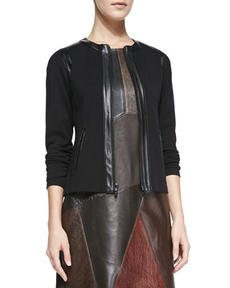 Jack Pine Faux-Leather-Trim Jacket & Cobblestone Mixed-Leather/Ponte Dress