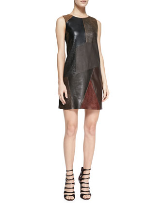 Cobblestone Mixed-Leather/Ponte Dress