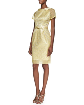 Jacquard Belted Cocktail Dress