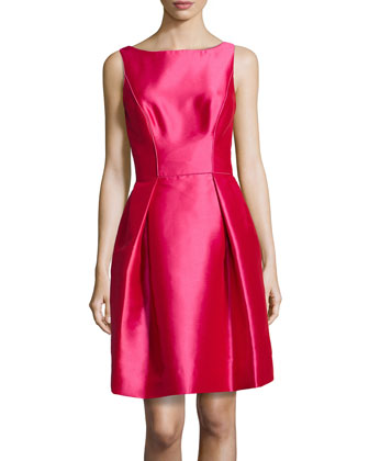 Scoop-Back Fit-And-Flare Party Dress, Azalea