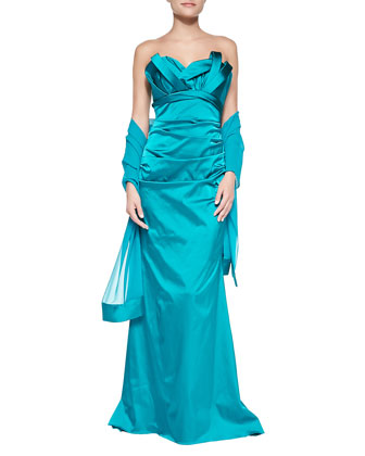 Strapless Satin Gown with Stole