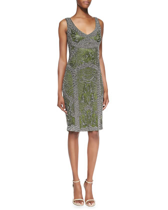 Beaded V-Neck Cocktail Dress, Fern