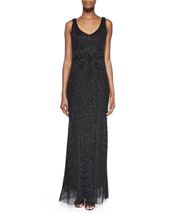 Sleeveless Beaded Deco Gown, Black/Ruby