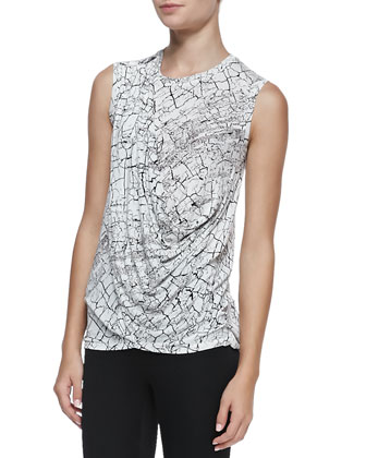 Rumor Printed Draped Sleeveless Top
