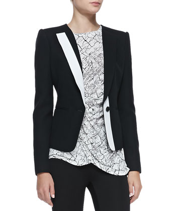 Marcelle Contrast-Trim Tuxedo Jacket, Rumor Printed Draped Sleeveless Top & ...