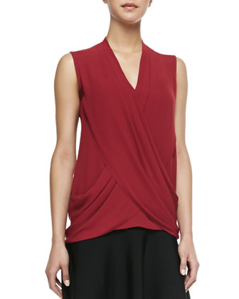 Doris Woven Draped V-Neck Top