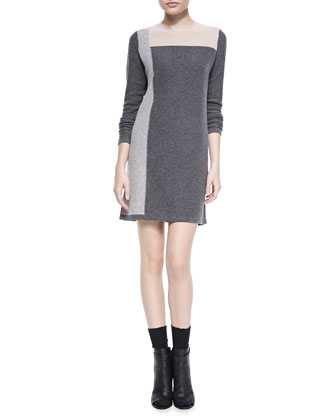 Geo Intarsia Cashmere Sweater Dress, Thunder Combo