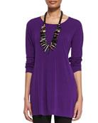 Silk Jersey Long-Sleeve Tunic, Petite