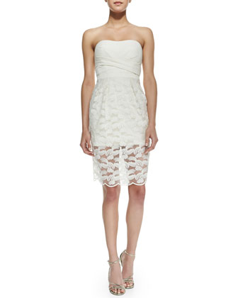 Adrianna Knit & Mesh-Overlay Strapless Dress