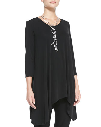 Asymmetric Silk Jersey Tunic & Washable Stretch-Crepe Ankle Pants