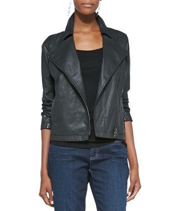 Waxed Short Moto Jacket, Petite