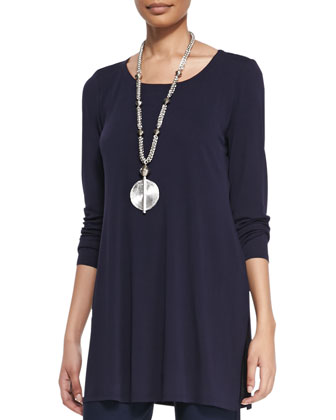 Silk Jersey Long-Sleeve Tunic, Petite