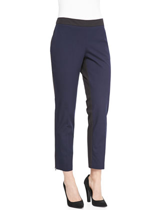 Two-Tone Stretch Twill Pants, Petite