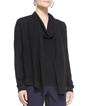 Washable Wool Draped Cardigan