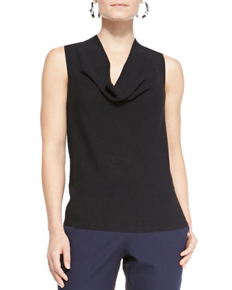 Washable Wool Draped Cardigan, Draped Tank & Two-Tone Stretch Twill Pants