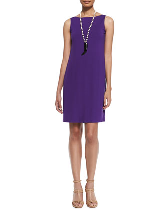 Washable Sleeveless Jersey Shift Dress, Petite