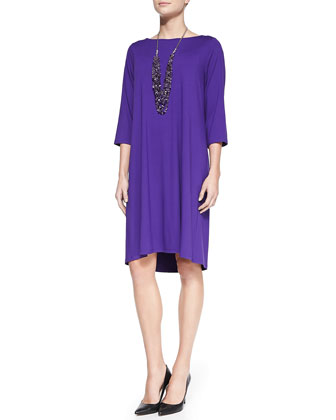 Washable 3/4 Sleeve Jersey Shift Dress, Women's