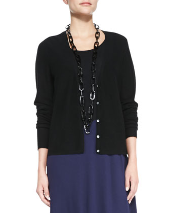 V-Neck Cropped Cardigan & Lightweight Viscose Two-Tone Jersey Dress