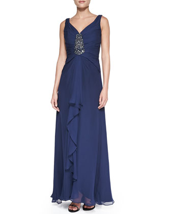 V-Neck Chiffon Ruffled Gown