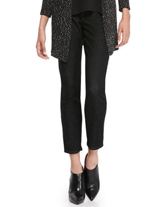 Slim Stretch Ankle Jeans, Black Indigo