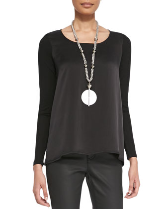 Silk Charmeuse-Front Long-Sleeve Top