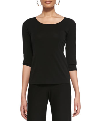 Silk Jersey 3/4-Sleeve Top, Black