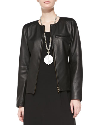 Lambskin Leather Shaped Jacket, Silk Jersey 3/4-Sleeve Top, Modern Wide-Leg ...