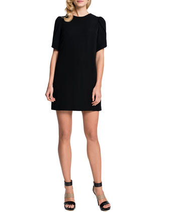 Tulip-Sleeve Sunday Dress, Black