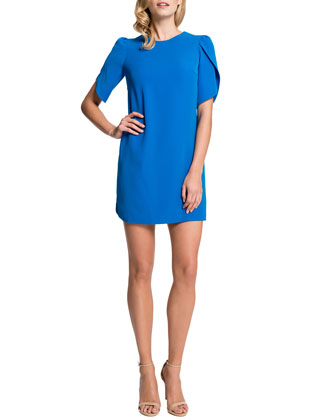 Tulip-Sleeve Sunday Dress, Cosmic Blue