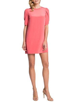 Tulip-Sleeve Sunday Dress, Coral Bloom