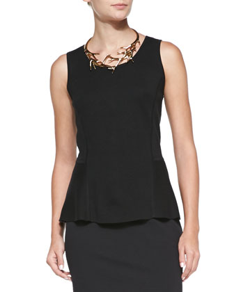 Sleeveless Peplum Tank & Ponte Jersey Pencil Skirt
