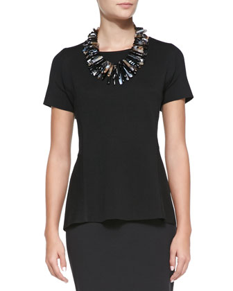 Sleeveless Peplum Tank & Ponte Jersey Pencil Skirt, Women's