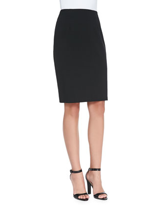 Sleeveless Peplum Tank & Ponte Jersey Pencil Skirt, Petite