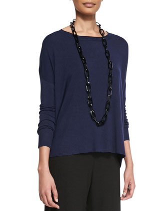 Cozy Knit Box Top, Midnight, Petite